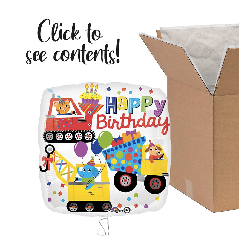 Happy Birthday Construction Care Package | Construction Party Theme & Supplies | POP Balloons