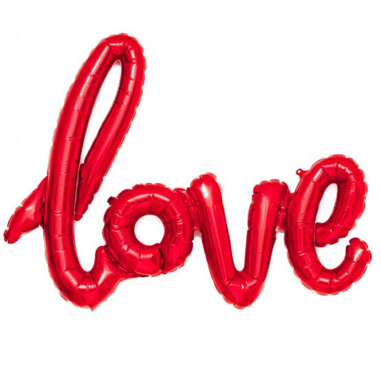 Red Script Foil Balloon Phrase - Love