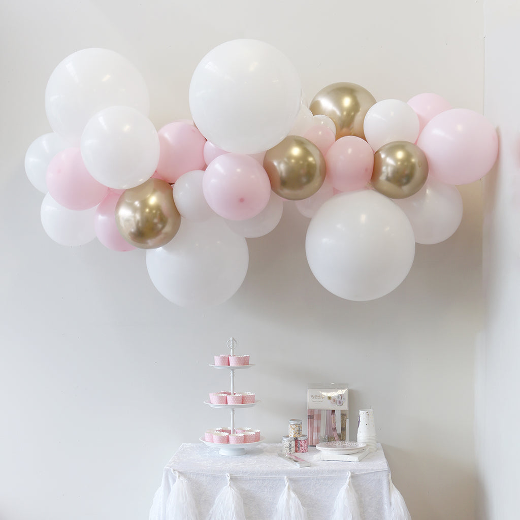 Pink White and Gold Balloon Garland | Balloon Garland Kits NZ
