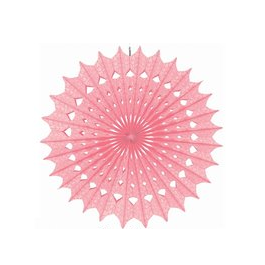 Damask New Pink Paper Fan 16 Inch