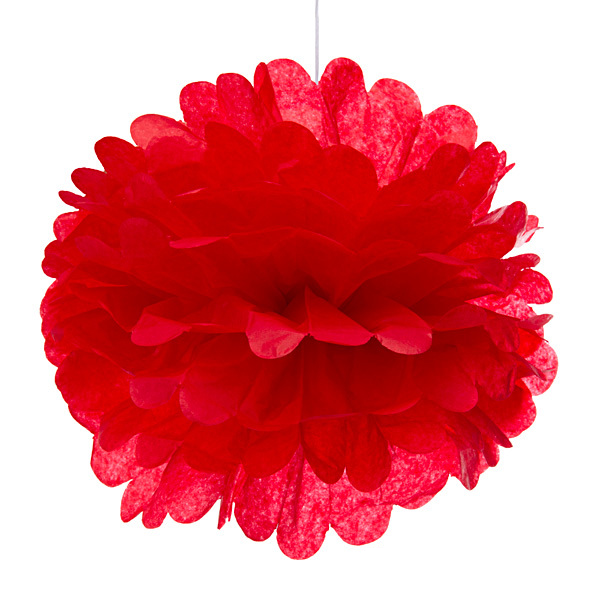 Cherry Red Tissue Pom Pom