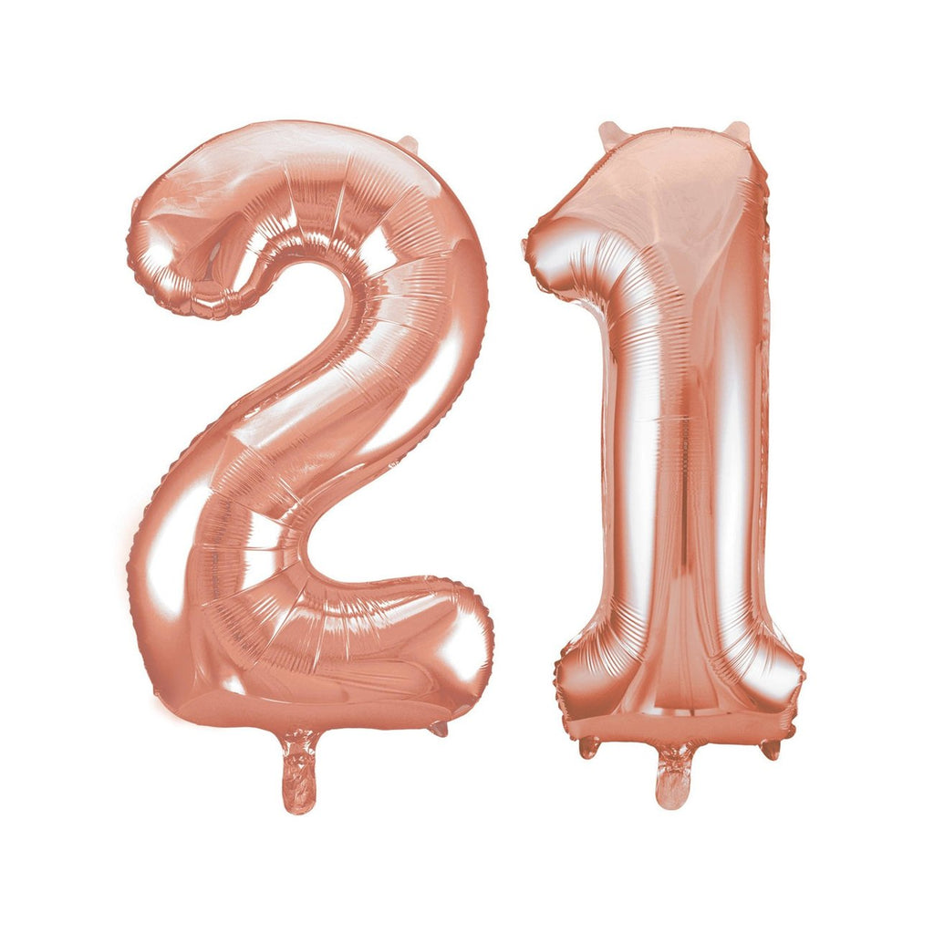 Giant Number 21 Foil Balloons - Rose Gold