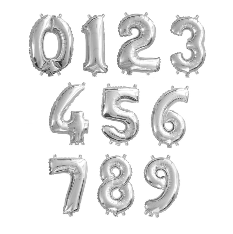 Small Number Foil Balloon - Silver