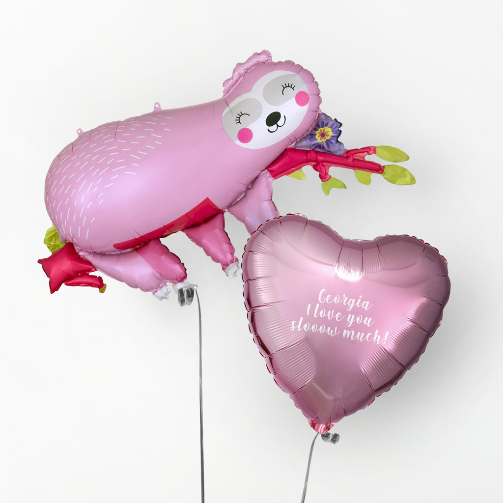Sloth Personalised Valentines Balloon | Valentines Balloons Wellington