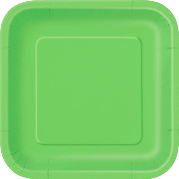 16 Lime Green Square Plates - Lunch
