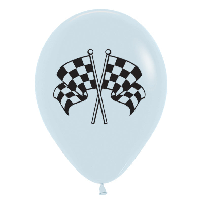 Sempertex | White & Black Racing Flags Balloons - Pack of 6 | Racing Party Theme & Supplies |