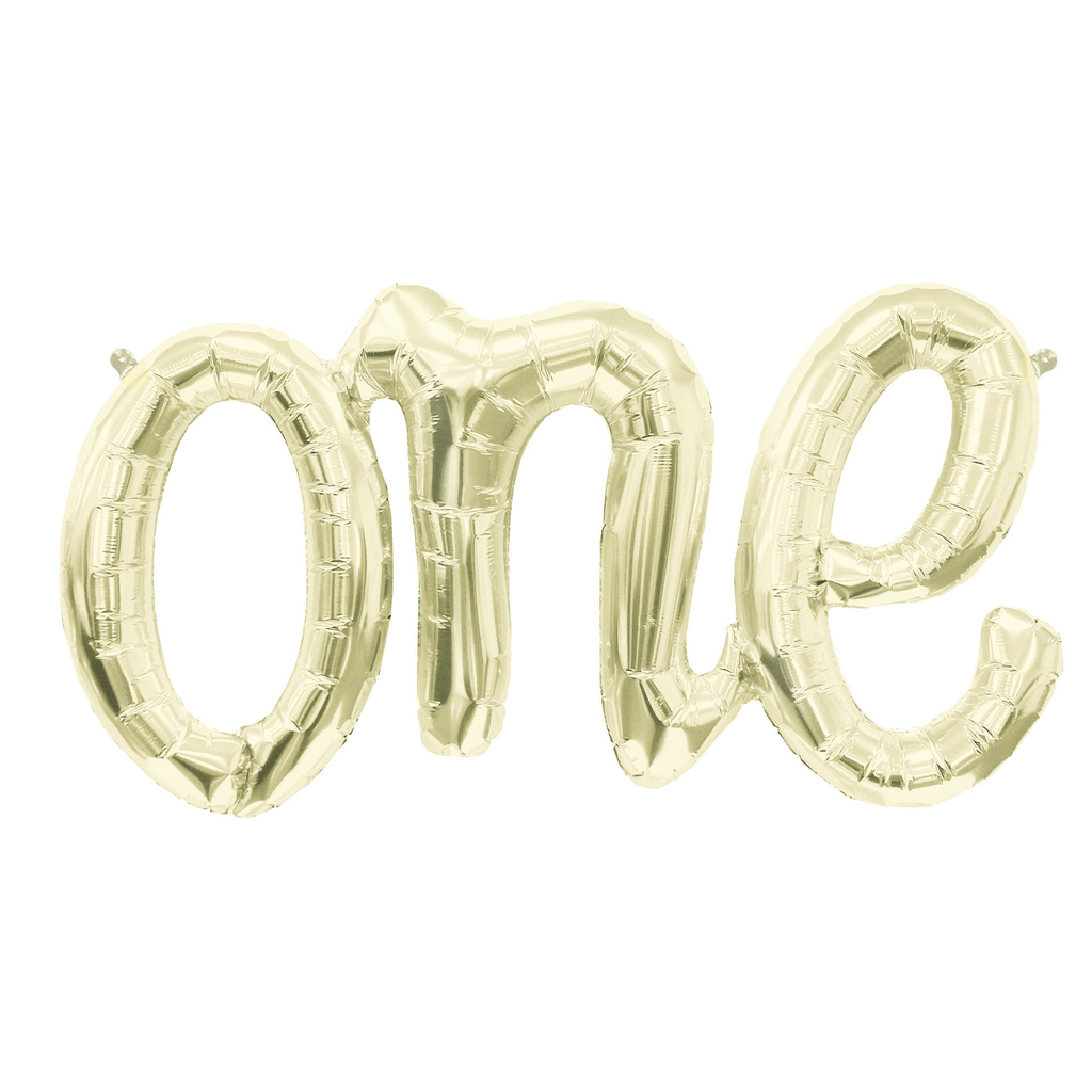 Foil Balloon Banner - White Gold One