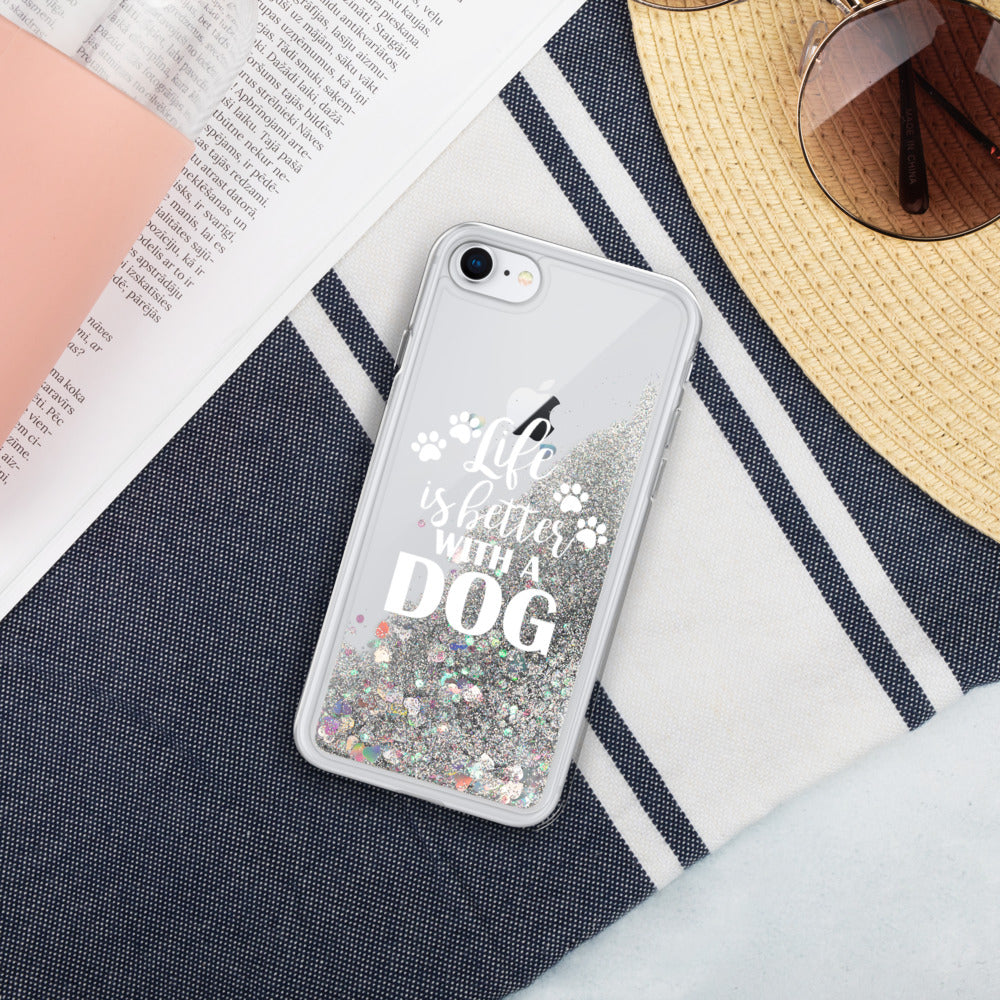 Life is Better with a Dog Liquid Glitter Phone Case - Doggie Clothes Shop
