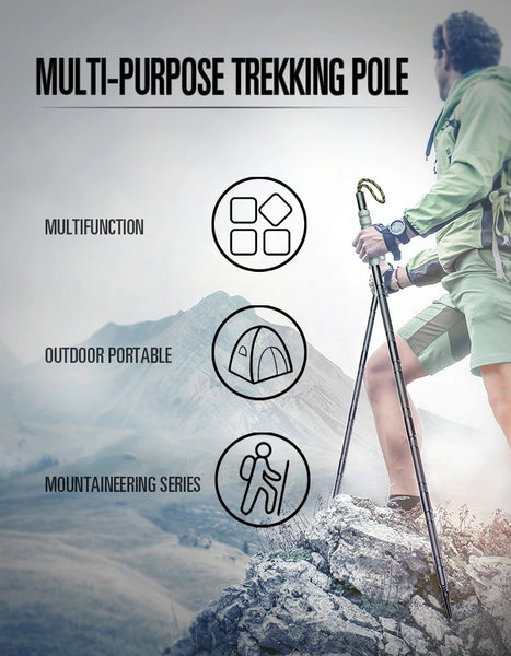 Tactical Walking Stick Trekking Pole with Multi-Tools