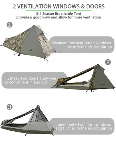 gogetthings - GeerTop 3-Season 1-Person Lightweight Camouflage Backpacking Bivy Tent