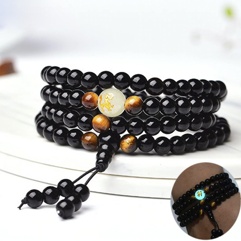 Glow in the Dark Dragon Black Buddha Beads Handmade Bracelet - GoGetThings