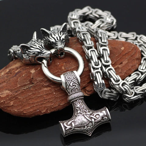 Viking Wolf Head Mjolnir Chain Necklace