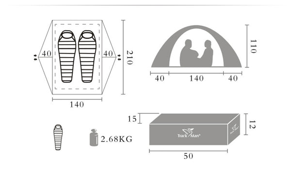 TrackMan 2-Person Waterproof Double Layer Camping Tent