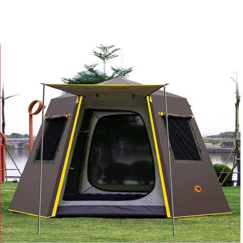 Hexagon UV Awning 4-Person Automatic Pop Up Camping Family Tent