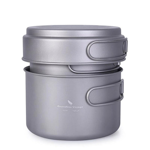 Boundless Voyage Titanium Pot Pan Set with Folding Handle