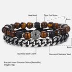 Natural Lava Tiger Eye Stone Beaded Bracelets - GoGetThings