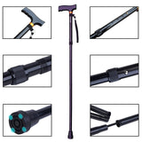 LUCKSTONE T Handle Folding Walking Stick Aluminum Cane