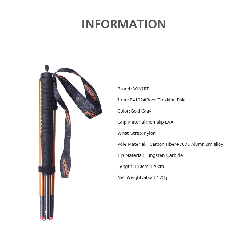 AONIJIE M-Pole Folding Ultralight Carbon Fiber Trekking Poles