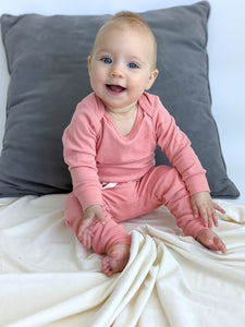 Long Sleeve Baby Bodysuit Salmon Pink