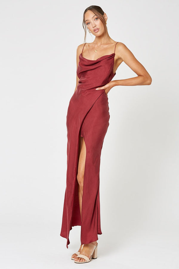 Mezzo Maxi Dress - Wine-DRESS-Catia Couture