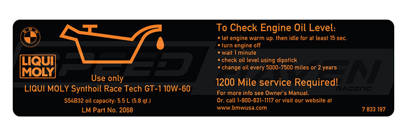 Engine Oil Sticker - S54