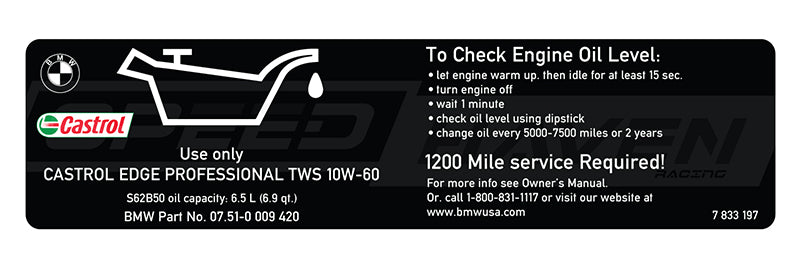 Engine Oil Sticker - S62