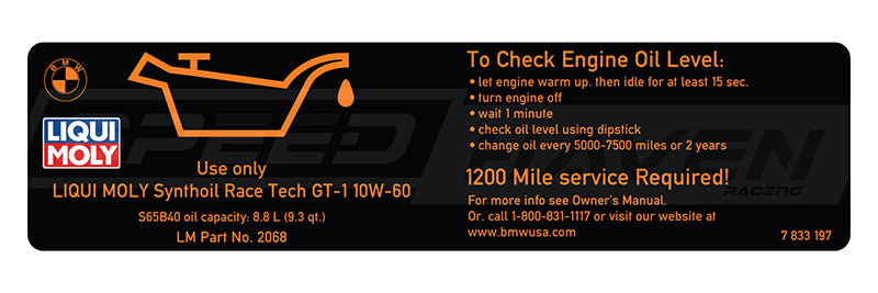 Engine Oil Sticker - S65