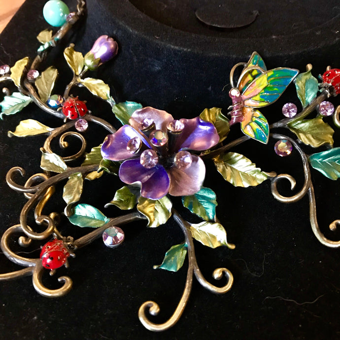 1970s Art Nouveau Enamel Jewelry Set