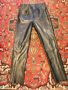 "Real ""Kookie"" 1990s Leather Jeans"