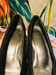 Vintage Christian Dior Black Textured Pumps