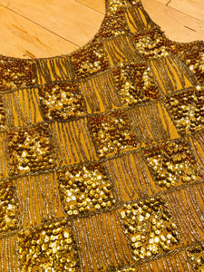 Shimmy Shimmy Shimmy Gold 1960s Sequined Cocktail Tank