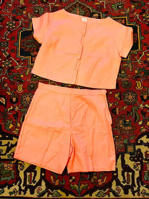 1960s Textured Cotton Salmon Summer 2PC