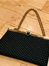 Load image into Gallery viewer, 1960s Black Satin Polka-Dot Cocktail Bag