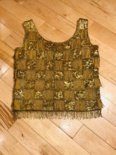 Load image into Gallery viewer, Shimmy Shimmy Shimmy Gold 1960s Sequined Cocktail Tank