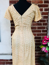 Load image into Gallery viewer, Fantastic 1960s Peaches N Cream Eyelet Wiggle Dress