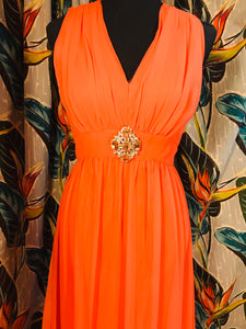 Bright Salmon 2pc 1960s Poly-Chiffon Gown