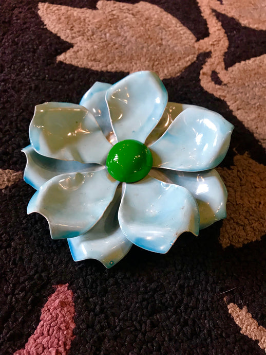 BIG Metal Vintage Turquoise Brooch
