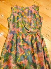 Load image into Gallery viewer, Shiny 1960s Floral Asymmetrical Wiggle Dress