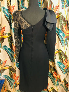 One Sassy Shoulder Lace and Wool Blended Wiggle Dress