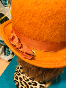 Fabulous Fuzzy Union Made Orange Cloche Hat with Ribbon Details