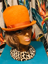 Load image into Gallery viewer, Fabulous Fuzzy Union Made Orange Cloche Hat with Ribbon Details