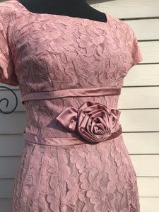 1960s Authentic Marcia Frocks Pretty In Pink Lace Dinner Dress