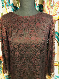 1960s Priscilla Style Custom Made Black n Blood Lace Party Dress
