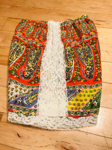 1970s Paisley And Lace Booty Shorts