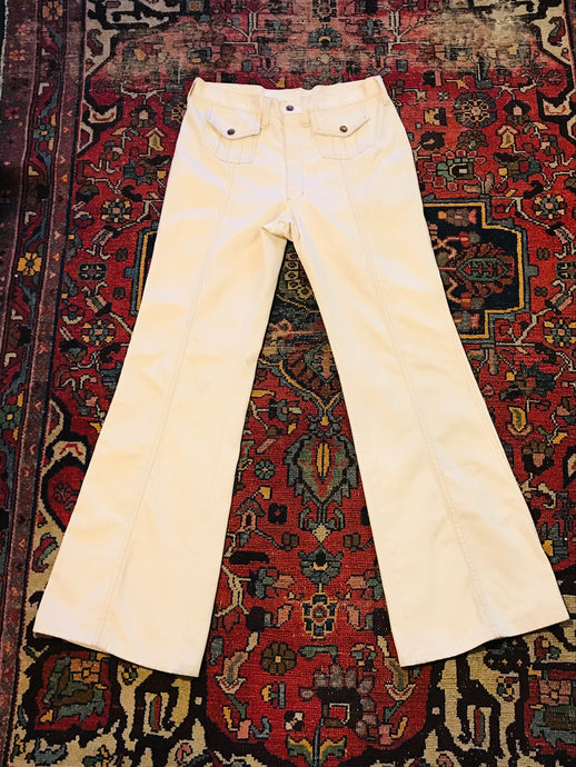 Cream 1970s Flat Front Pocket Bell Bottoms