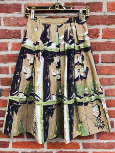 1940s Pleated Butterfly Printed Circle Skirt