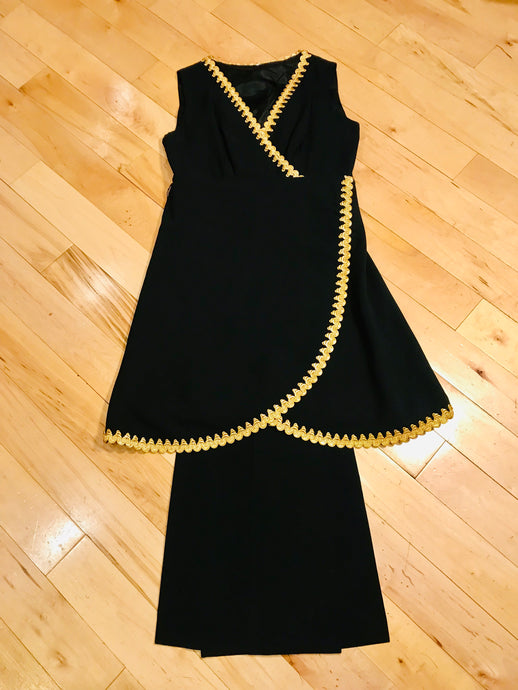 1960s Black N Gold Tunic Set