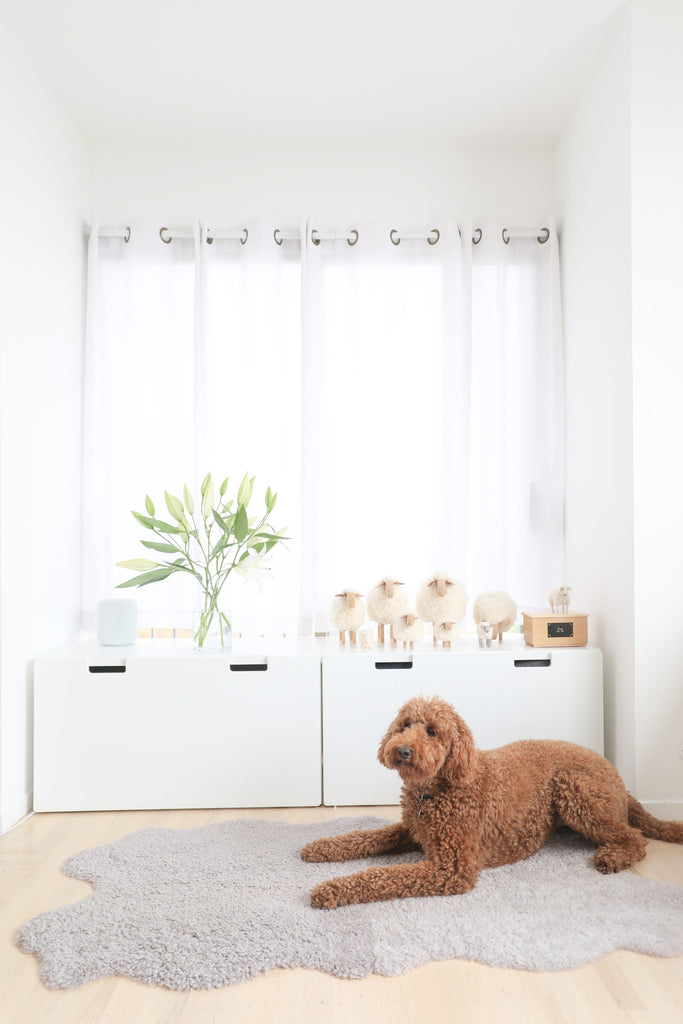 Modern bedroom with sheepskin and brown standard poodle dog and sheep objects in Faunamade blog post