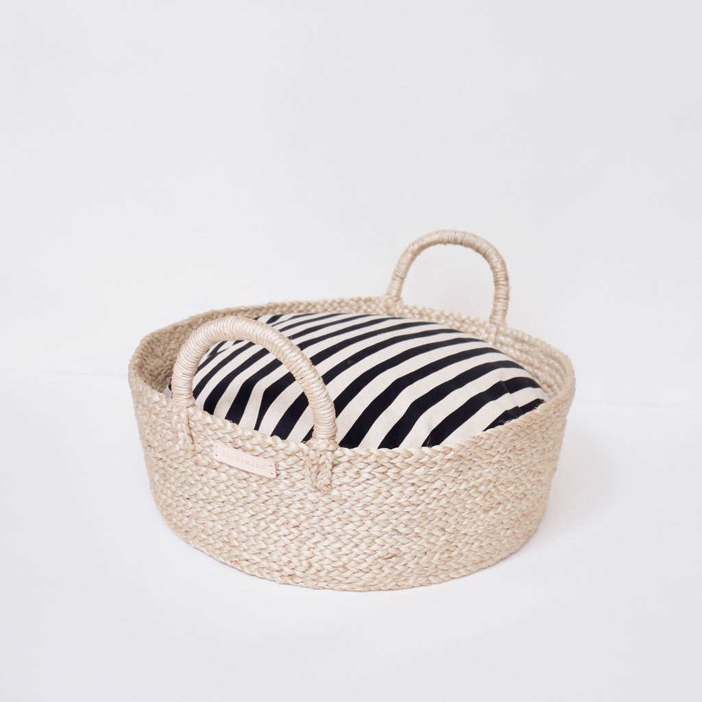 Basket Bed in Black & Tan Stripe