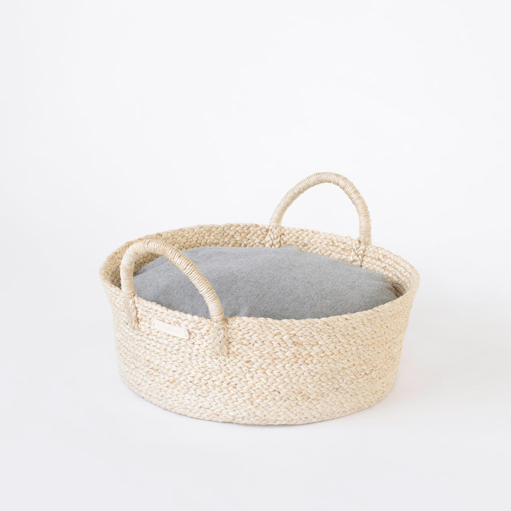 Basket Bed in Gray Flannel